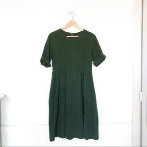 Roolee Green Linen Midi Dress with Pockets